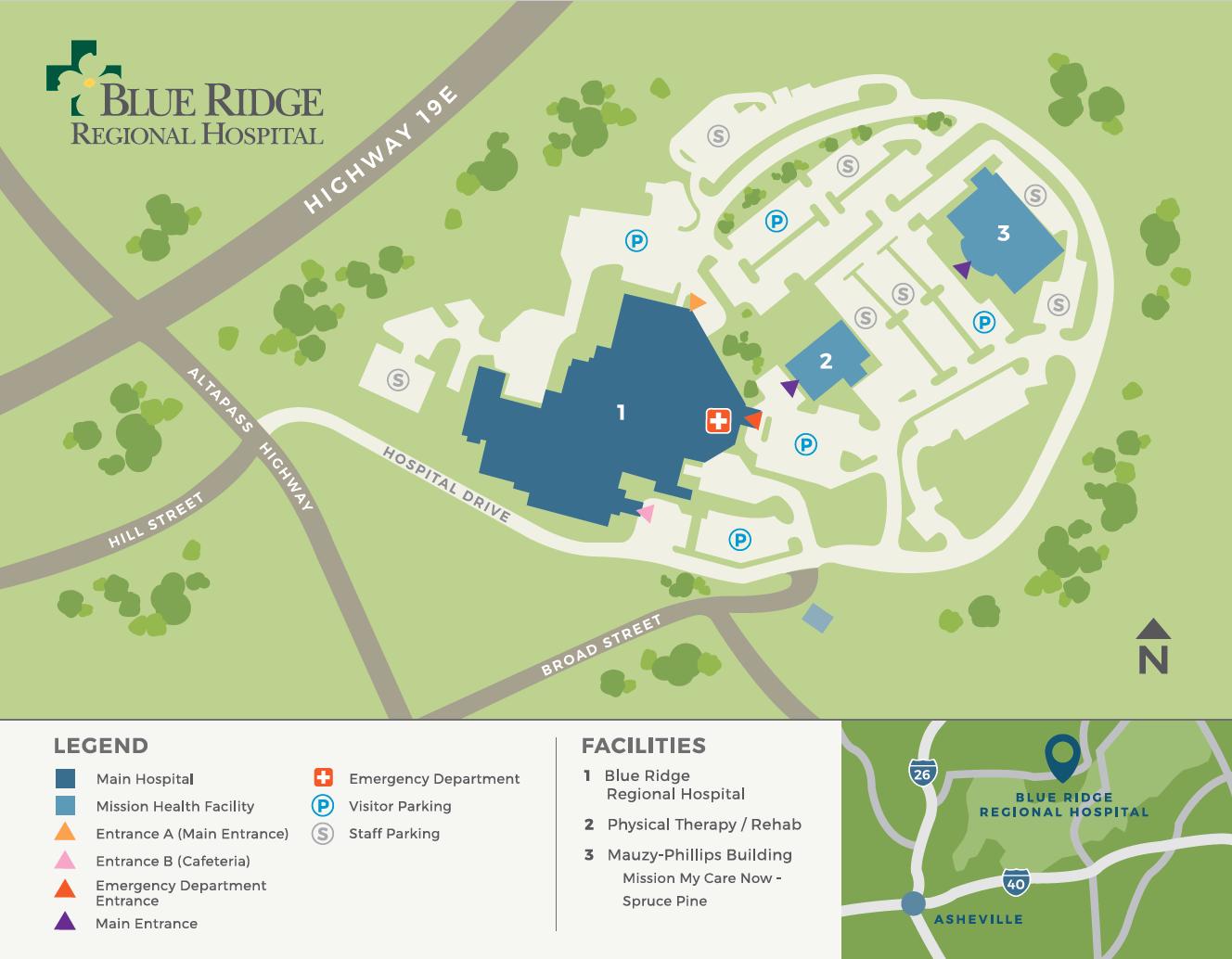 Map of Blue Ridge Regional Hospital Parking Lot