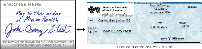 Blue Cross Check Example